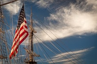 American Flag Hanging From a Galleon's Main Mast