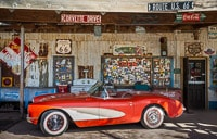 Red Corvette at the Entrance of Hackberry General Store on Historical Route 66