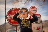 Kid Wearing Sunglasses on Historical Route 66