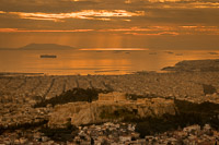 Aereal View of the Acropolis of Athens at Sunset