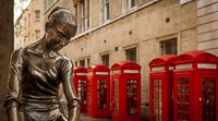 Dancer Statue and Phone Booths