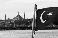 Flag of Turkey and Mosque at the Horizon